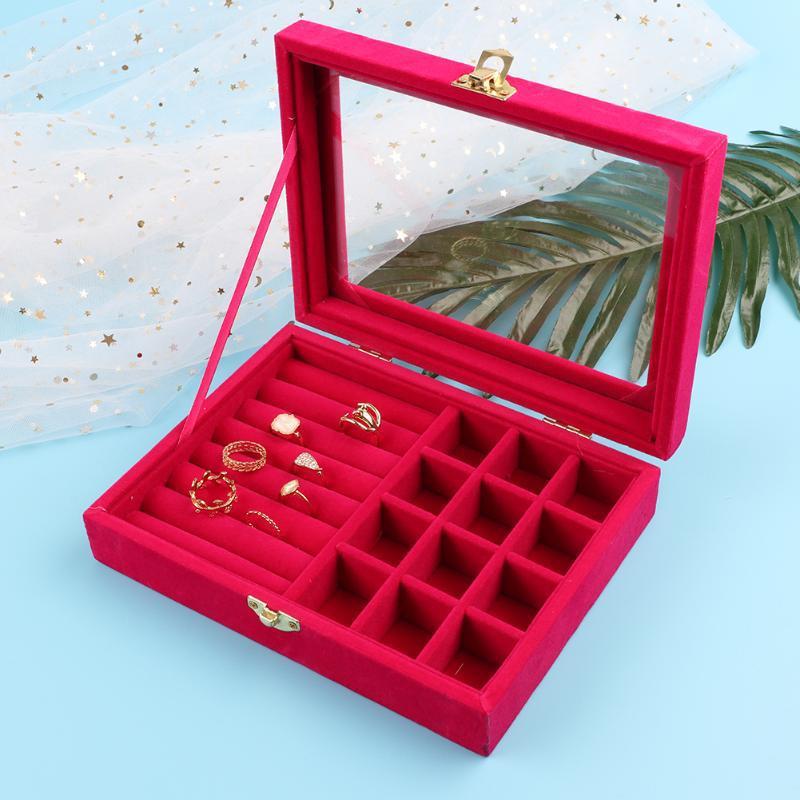 Gold Single-Button Multi-Purpose Small Jewelry Box Jewlery Box Ring Box Ear Stud Pendant Decoration Storage Box Jewelry Box