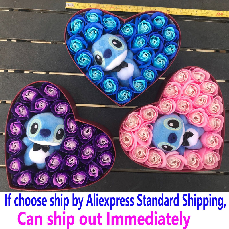 Artificial Flowers Bouquet Stitch Bouquets Of Plush Toy Soap Rose Flower Lilo Toys With Box Valentine Day Decoration For Wedding