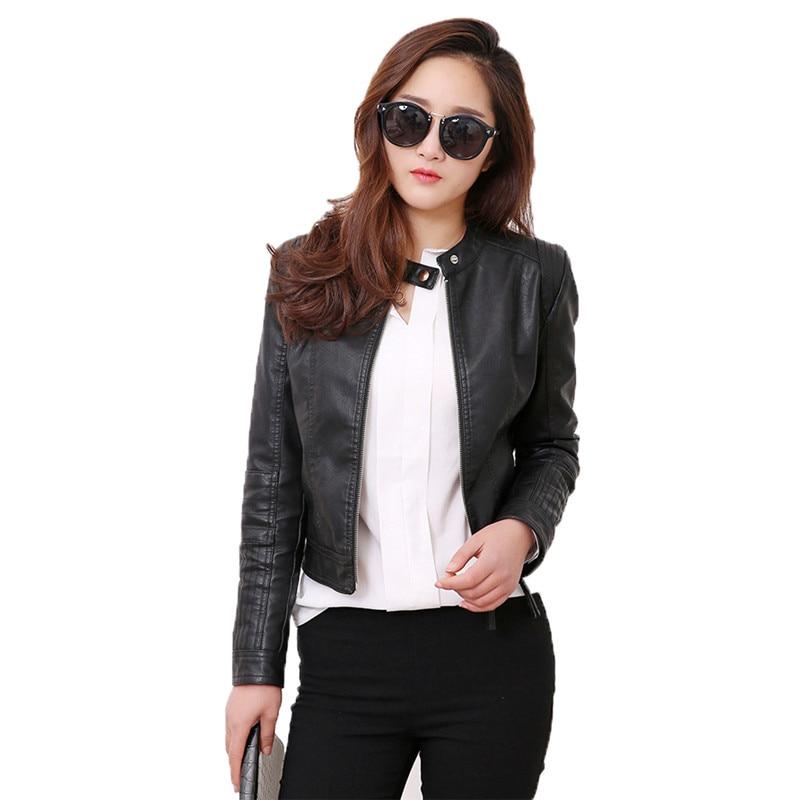 Black faux   leather   coat women white korean slim top PU jacket 2019 autumn new standing collar fashion short paragraph coat LR572
