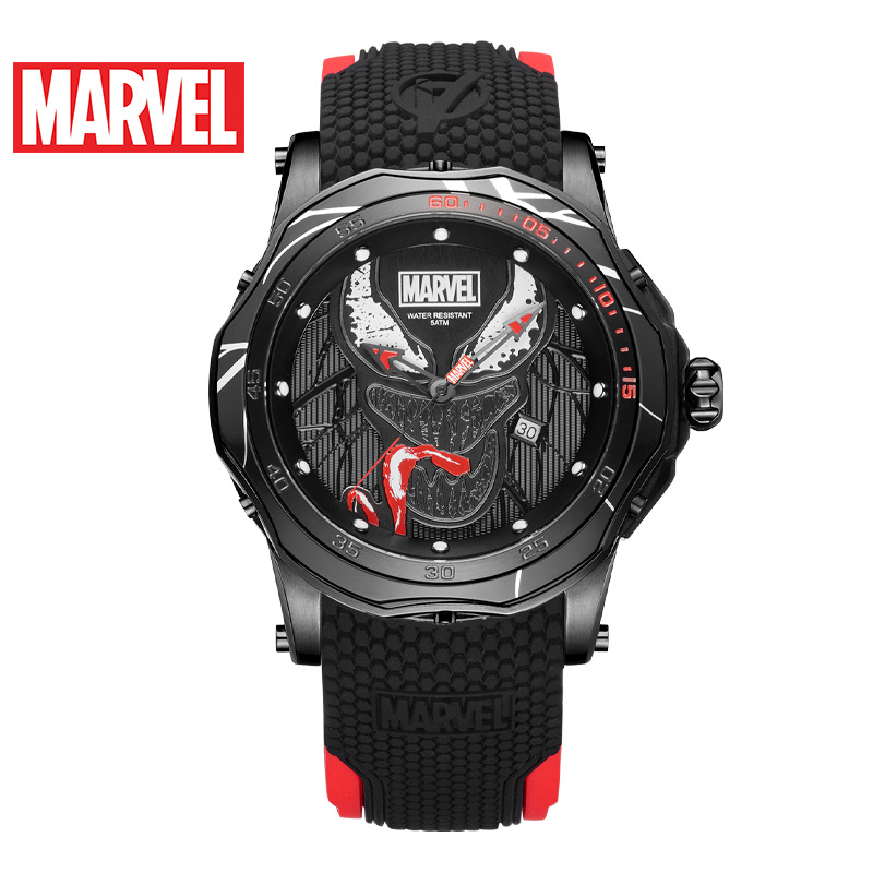 Marvel Avengers VENOM Men 5ATM Waterproof Watch Stainless Steel Silicone Band Man Sport Trendy Clock Army Reloj Black Super Hero