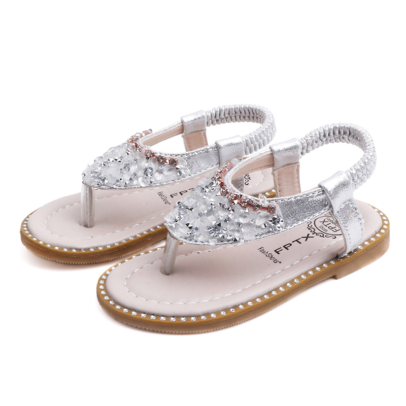 New Girls Sandals Princess Baby Girl Shoes 2020 Summer INS Style Shoes Crystal Bling Sequins Rhinestone Fashion Girls Shoes