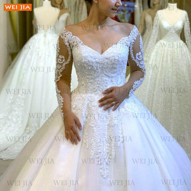 Luxury White Wedding Gowns 2021 Long Sleeves Lace Up Vestido De Noiva Appliqued Organza Ball Gown Bride Dresses Abito Da Sposa 3