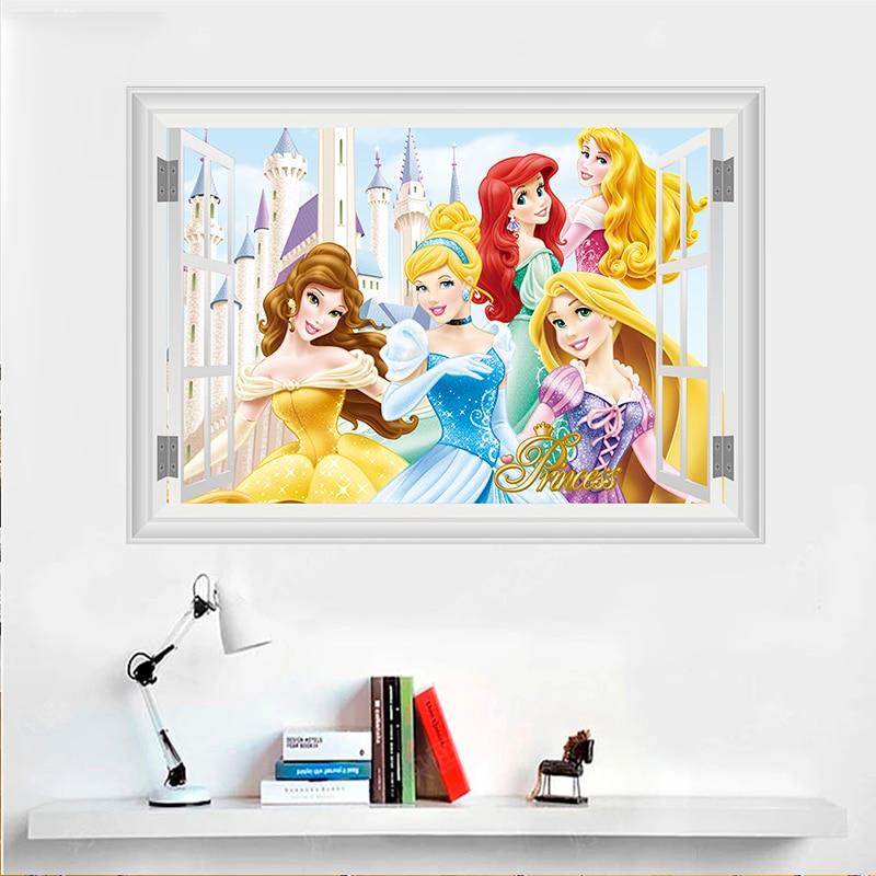 3d frozen snow white princess window wall stickers kids rooms home decor cartoon cinderella belle aurora wall decals mural art in Wall Stickers from Home Garden