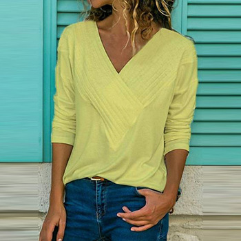 S-5XL Casual Women Summer T-shirt Long Sleeve V-neck Cotton Loose Shirt Solid Color Plus Size Women Clothes Fashion Summer Tops 5