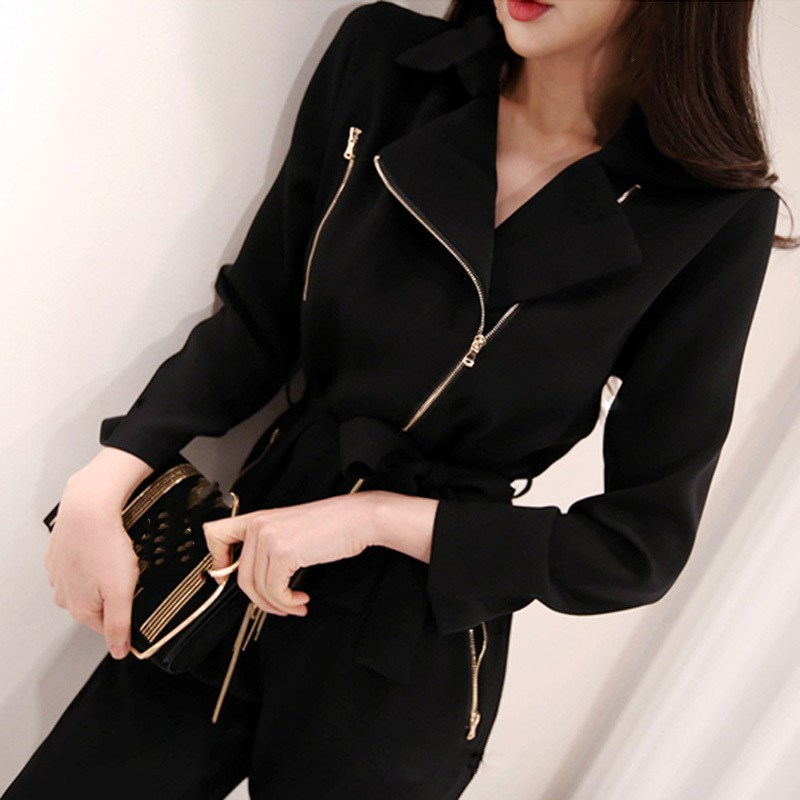 Nice Fashion Notched Neck Zippers Women Jumpsuit Female Black Business Work Jumpsuits Sashes Long Pant Playsuit