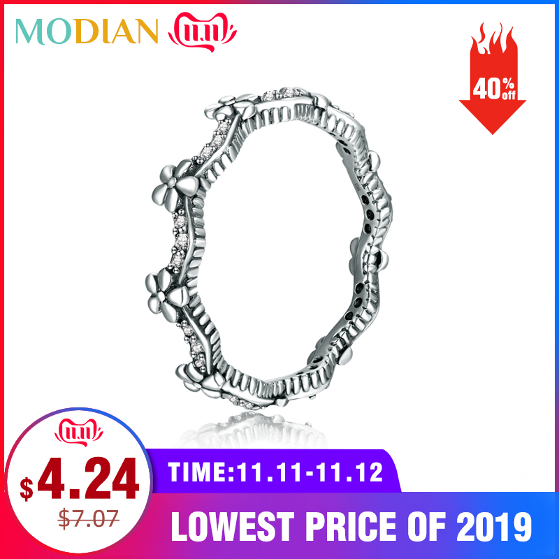 Modian Statement Finger Rings Fashion 3 Color Flower 925 Sterling Silver Stackable Charm Ring For Women Accessories Jewelry Gift