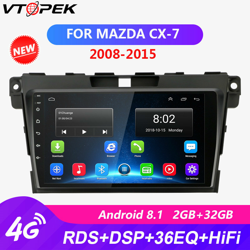 2+32G Android Car Radio For <font><b>Mazda</b></font> CX7 <font><b>CX</b></font>-7 <font><b>CX</b></font> 7 ER 2008-2015 RDS DSP Touch screen 4G WIFI player Navigation GPS autoradio image