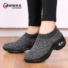 WWKK Autumn Spring Women Sneakers Shoes Flat Slip On Platform Sneakers For Women Black Breathable Mesh Sock Running Shoes Woman(China)
