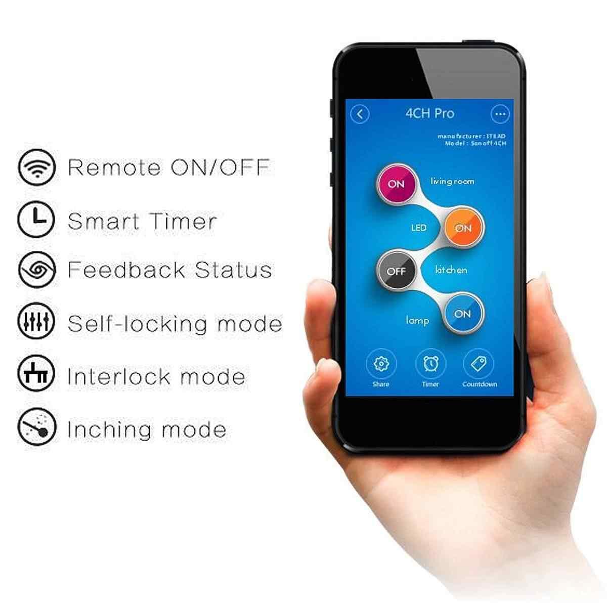 SONOFF 4CH Pro R2 2,4 Ghz 433MHz RF умный дом беспроводной WiFi переключатель приложение пульт дистанционного управления модуль Inching/самоблокирующийся/Блокировка