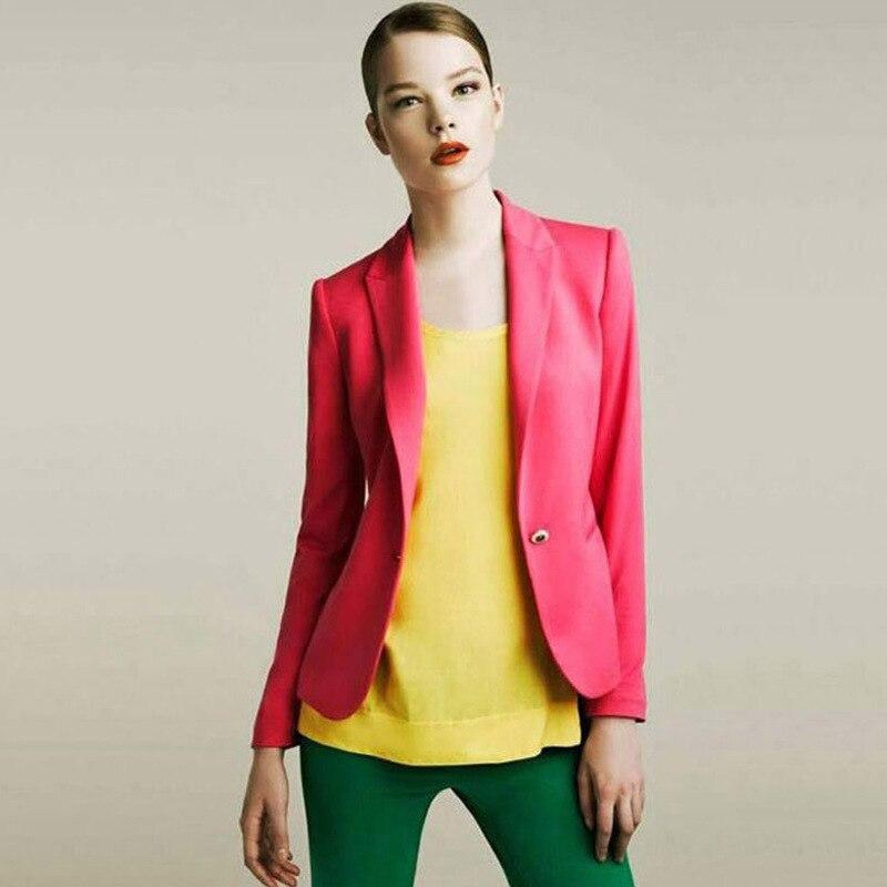 Newest 2019 Spring Fashion Women 6 Colors Slim Fit Blazer Jackets Coats Notched Full Sleeve Blazer Women Coats Top Y045