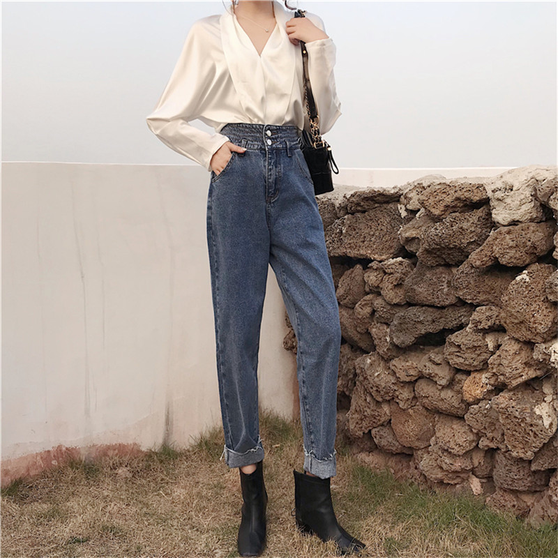 Real shot 2020 new fashion retro all-match high-waist denim harem pants loose casual thin all-match casual jeans