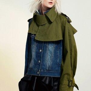 Image 3 - EAM veste en Denim à manches longues pour femmes, nouveau manteau à manches longues, coupe ample épissure, mode printemps automne 2020 1B093