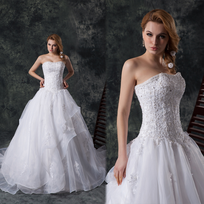 Fashion A-line Wedding Dress Sweetheart Strapless Satin And Tulle With Appliques And Beadings Vestido De Noiva Bride Dress