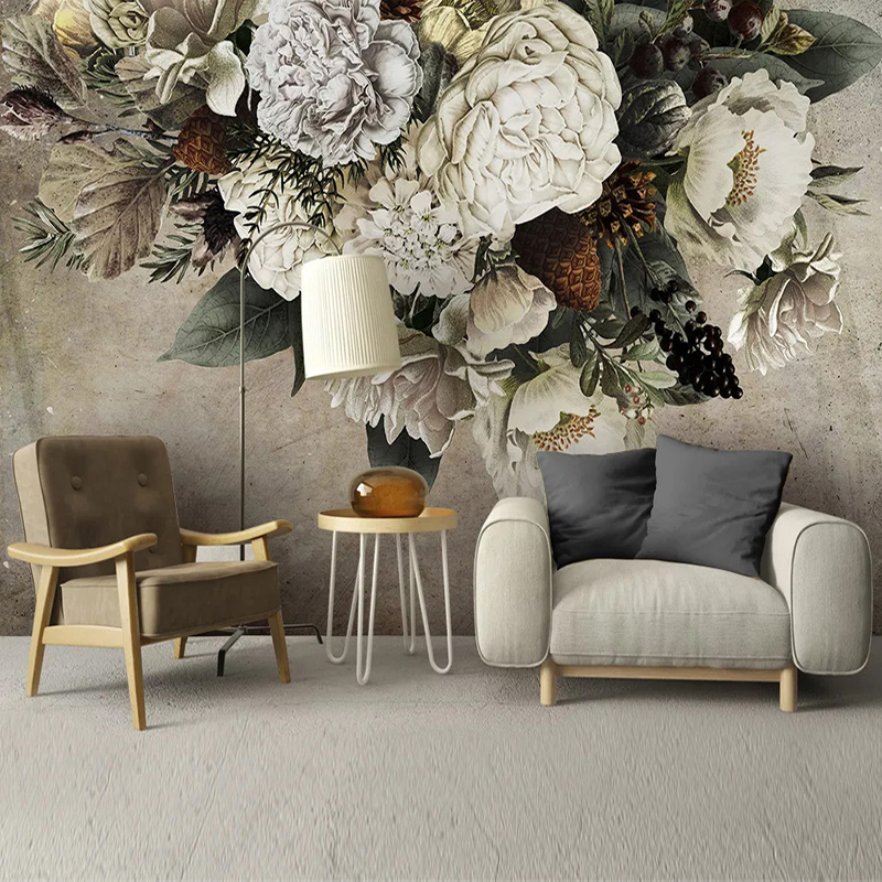 Custom Mural Wallpaper European Style Retro Floral Flower Art Wall Painting Living Room Bedroom Background Home Decor Wall Paper