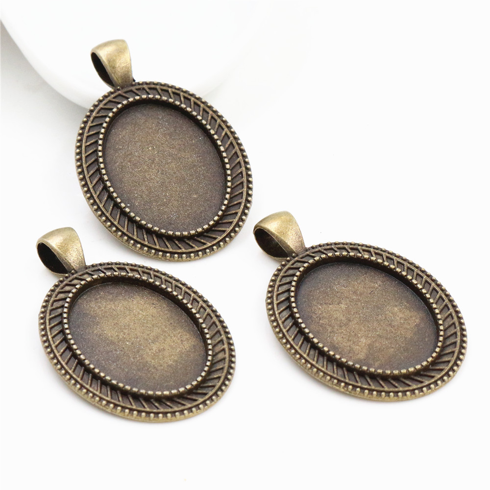 4pcs 18x25mm Inner Size Antique Bronze Flowers Style Cameo Cabochon Base Setting Charms Pendant Necklace Findings (C3-19)