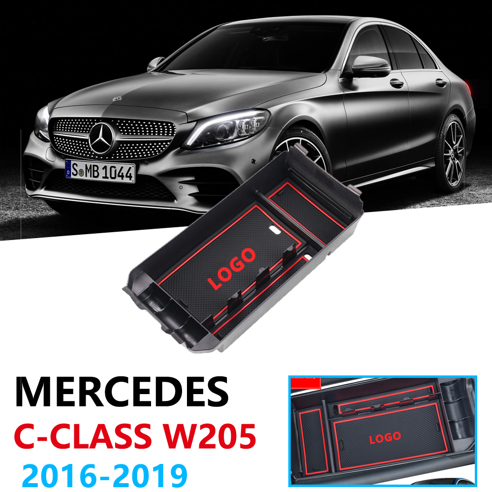 Car Organizer Accessories for Mercedes Benz C-Class <font><b>W205</b></font> C180 <font><b>C200</b></font> C300 C400 C43 C220 C250 Armrest Box Storage Stowing Tidying image