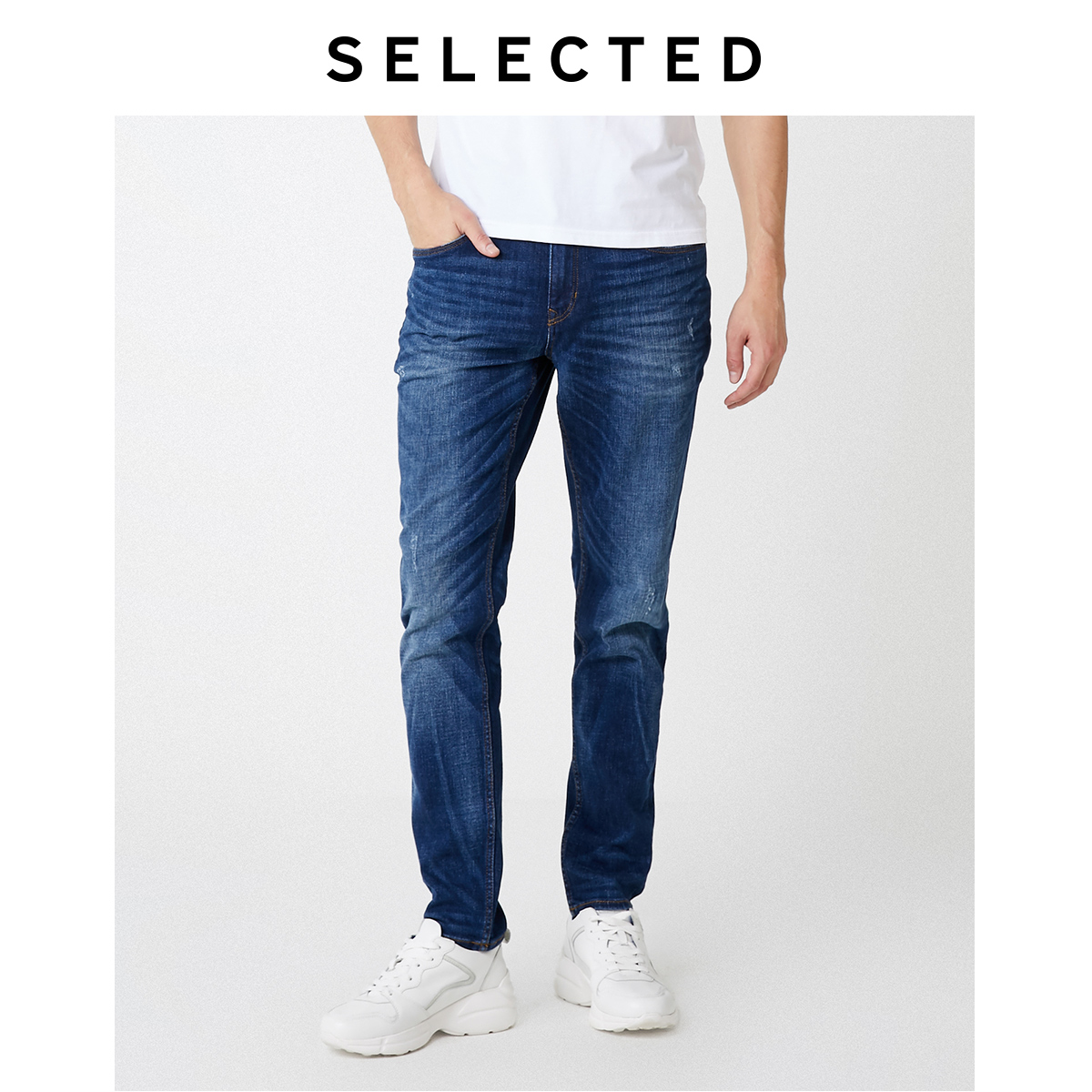 SELECTED Men's Distressed Ripped Tight-leg Jeans S|419332508