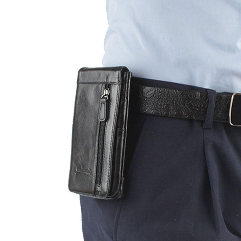Quente de Couro dos Homens Bolsa da Cintura Case do Telefone Titular do Cartão Venda Celular Móvel Bolsa Gancho Cinto Pele Fanny Pacote –