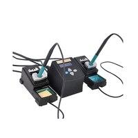 Youyue 3600 ferros de solda dupla estação de solda digital com 2 canais alças 95-400 graus de temperatura ajustável