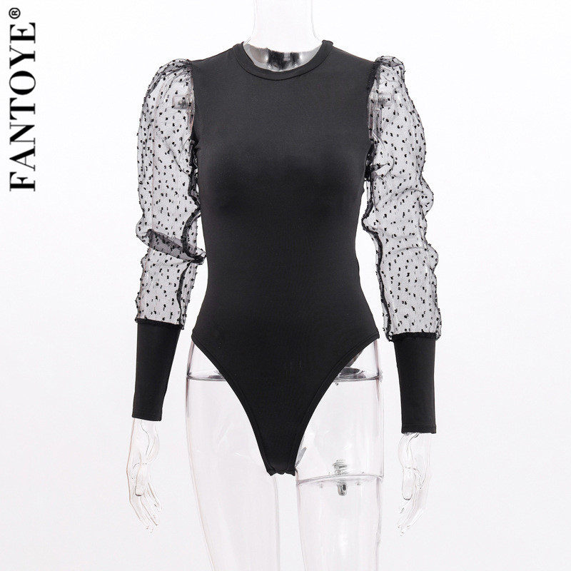 Hc0b70dc2c4434c60979890f01ac2059cy - FANTOYE New Lace Puff Sleeve Women's Bodysuit Autumn Long Sleeve Polka Dot Vintage Bodycon Jumpsuit Tops Skinny Mesh Bodysuits