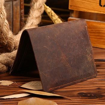 THINKTHENDO Vintage Men Crazy Horse Leather Bifold Wallet Genuine Leather Wallet Card Holder jmd crazy horse leather wallet embossed alligator pattern long wallet card holder 8067r
