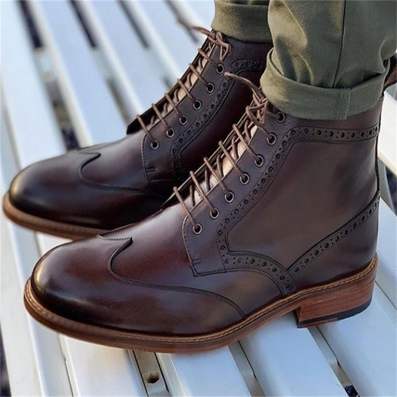 Men's High Quality Pu Leather Fashion Casual Lace-up Winter Comfortable Short Boots Simple Classic Zapatos De Hombre Ha914