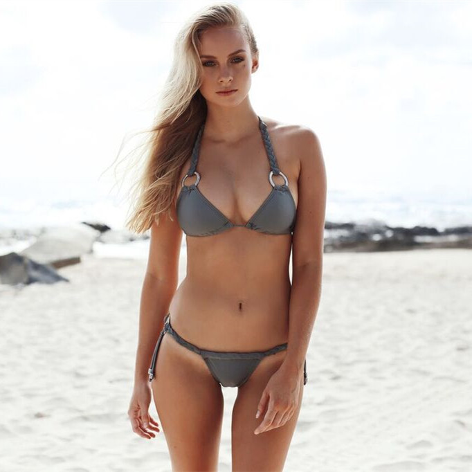 2018 Europe And America New Style Hot Sales Swimwear Solid Color Braided Rope Two-piece Swimsuits Two-Piece Bikini