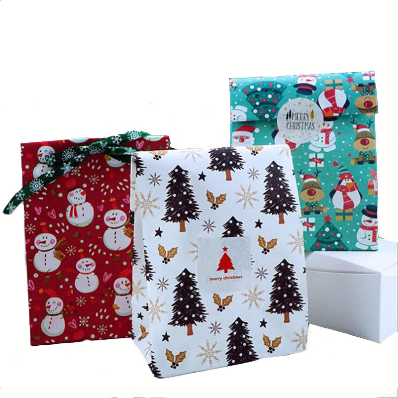 Merry Christmas Decorations For Home Snowflake Paper Bag Snowman Christmas Tree Food Cookie Gift Happy New Year  Party  Bags