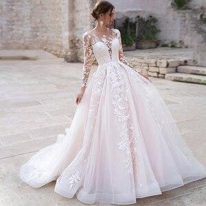 Image 1 - Eightree mangas compridas princesa vestido de casamento 2020 renda tule praia vestido de noiva organza ilusão sem costas apliques vestidos de casamento
