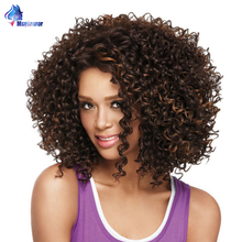цена на Short Kinky Curly Bob Wig Synthetic Afro Wig For Women Mixed Brown Fluffy African American Bob Wigs Natural Black Hair Msglamor