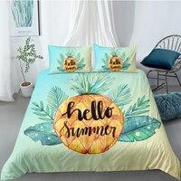 Biancheria da letto ananas Set copripiumino moderno 3D cuscino fodera King Queen Super King Twin Size140 * 210cm ciao Set biancheria da letto estivo