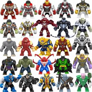 Marvel Avengers Hulk Thanos Iron Man Batman Venom Wolverine Super Heroes Building Blocks Figures Sets Toys For Children Gifts 8in1 avengers 4 iron man vs hulk mech building blocks bricks boy toys b696