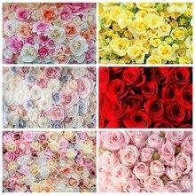 Laeacco fondos de fotografía de vinilo, pared Floral, rosa, flores, boda, telones de fondo, fiesta de bienvenida de bebé, fotozona para estudio fotográfico