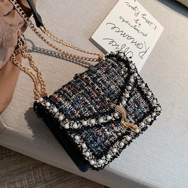 Elegant Female Pearl Square Bag 2019 Fashion New High Quality Women's Designer Handbag Tassel Chain Shoulder Messenger Bag Crossbody bag