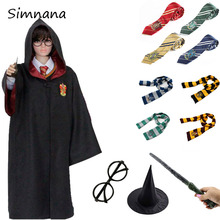 Adult Kids Potter Costume Cosplay Gryffindor Slytherin Hufflepuff Ravenclaw Robe Magic Cloak With Tie Scarf Wand