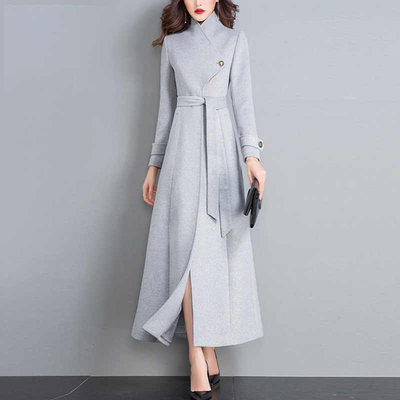 Women Winter 2019 Coats Autumn and Winter New Classic Gray Lace Large Size Wool Coat Slim Thin Thick Long Wool Coat Female