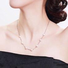 Gn pérola 925 prata esterlina colar corrente gnpearl 7-8mm genuien branco natural de água doce peras gargantilha jóias finas para mulher