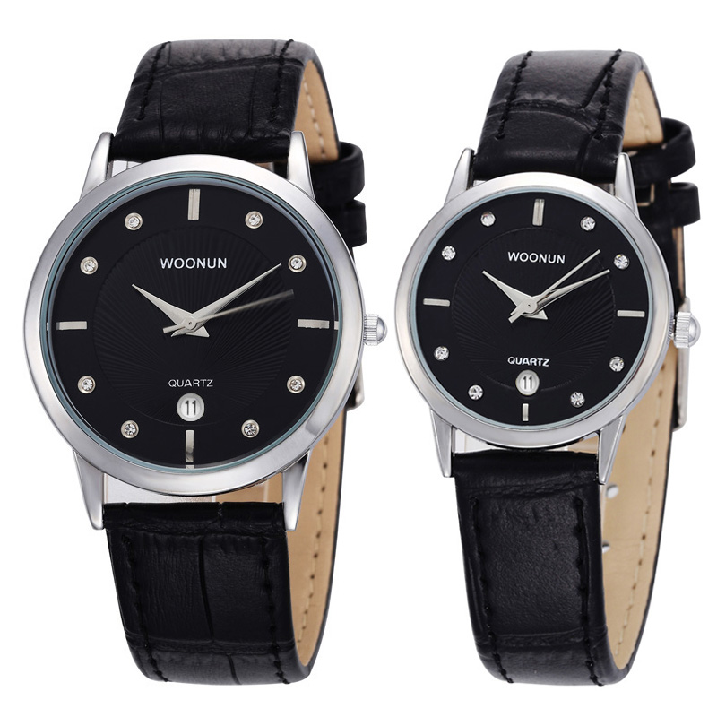 2020 New Top Brand Luxury Couple Watches For Lovers Pair Men And Women Leather Strap Quartz-watch Woman's Man's Ultra Thin Watch