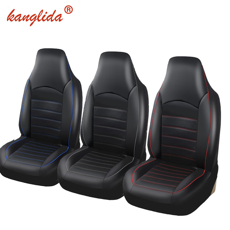 >KANGLIDA 2PCS Front Pu Leather Car Seat Covers Fashion Style High Back Bucket Auto Interior Car Seat Protector For toyota