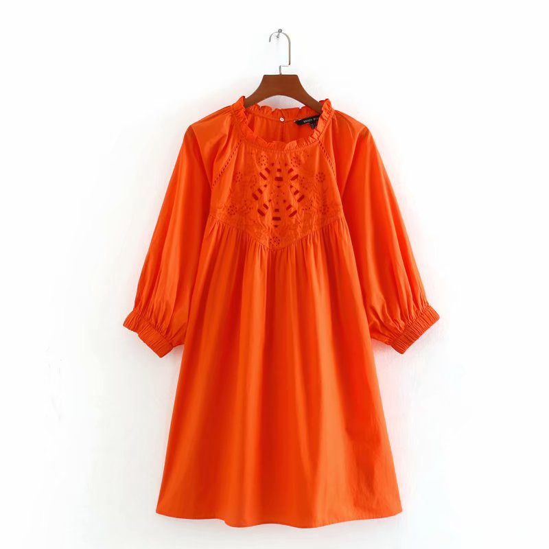 2020 Spring Summer New Hollow Embroided Orange Cotton Zaraing Women Dress Sheining Vadiming Female Vintage Plus Size Cdc9659