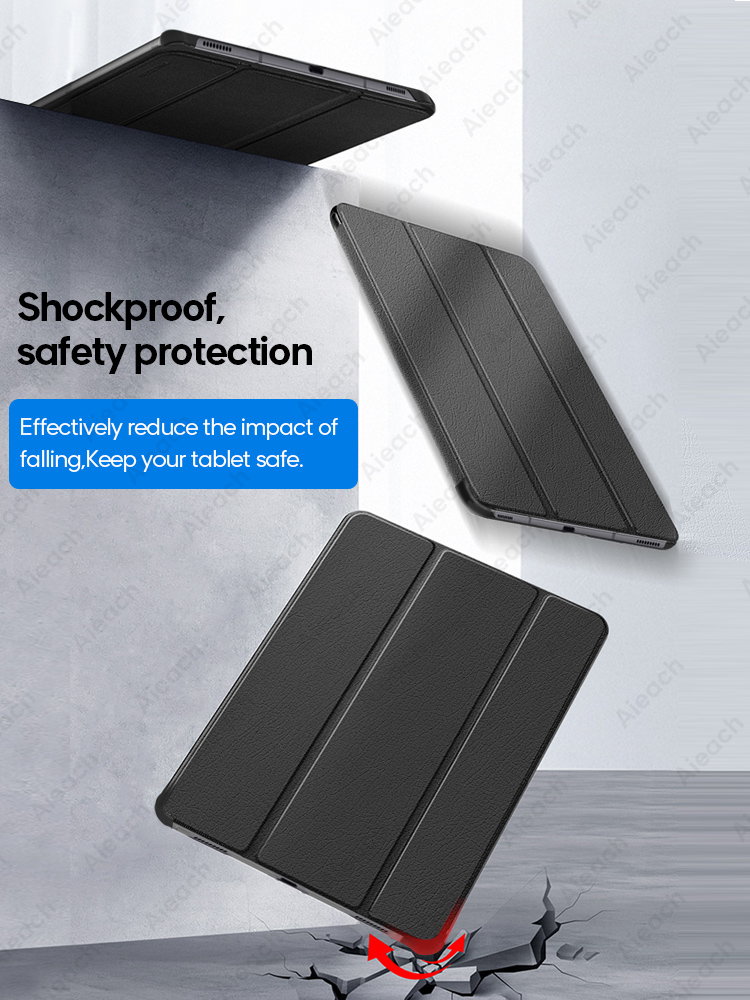 Leather Trifold Stand Case For Samsung Galaxy Tab A 10.1 2019 8.0 S5e Smart Sleep Wake Cover For Galaxy Tab S7 Plus S6 Lite Case-3