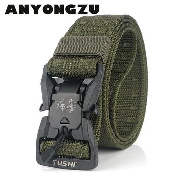 2020 New Magnetic Buckle Canvas Outdoor Tactical Belt Men Military Training Textile Nylon Camouflage Belt To Quickly Solve 125CM