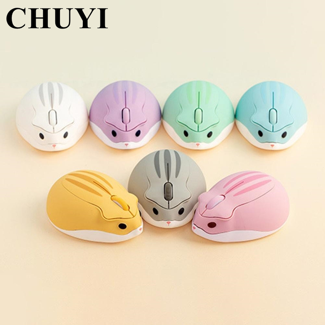CHUYI 2.4G Wireless Optical Mouse Cute Hamster Cartoon Computer Mice Ergonomic Mini 3D Office Mouse For Kid Girl Gift PC Tablet 1
