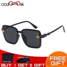 Цветные очки без оправы для мальчиков и девочек, негабаритные Квадратные Солнцезащитные очки с украшением пчелы, Детские стильные солнцезащитные очки, новые модные очки