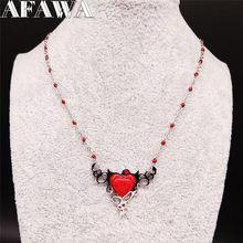 2021 de moda diablo corazón collar de acero inoxidable para mujeres rojo fuerte de Color plata collar de corazón joyería de moda mujer N2005S2