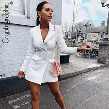 Cryptographic Casual Button Notched Double Breasted Long Blazers Solid Fashion S