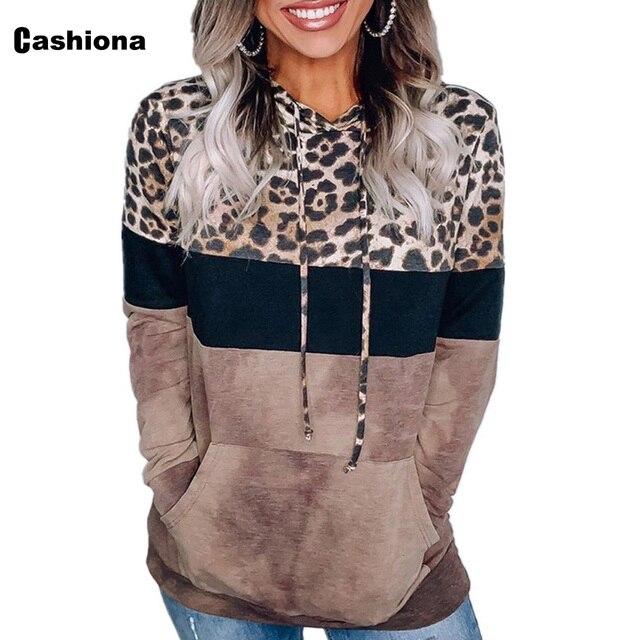 Cashiona 2020 Women Hoodie Sweatshirts Autumn Long Sleeve Patchwork Color Leopard Printed Tops Plus size Femme Casual Sweatshirt 5