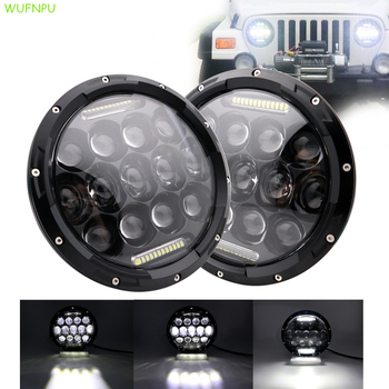 2xLada Niva Urban 7inch Led Headlight4x4 suzuki samurai Hi / Low H4 Light Halo Angle Eyes DRL Headlamp For Jeep Wrangler