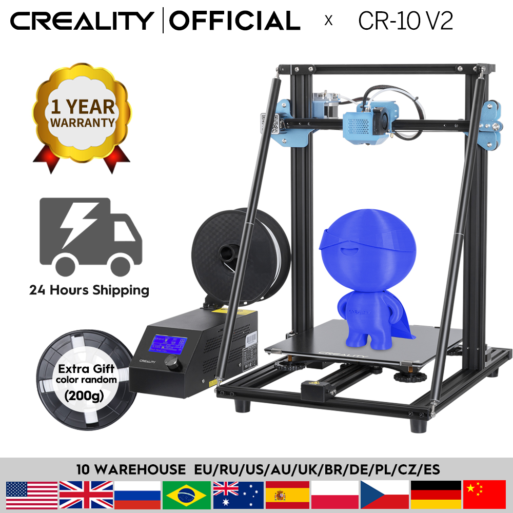CREALITY طابعة ثلاثية الأبعاد CR-10 طابعة V2 طباعة كبيرة Siz اللوحة الرئيسية الصامتة استئناف الطباعة مع يعني امدادات الطاقة بشكل جيد