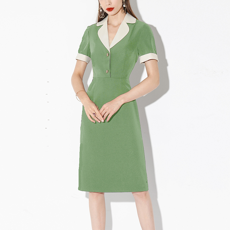 Seifrmann Summer Fashion Designer Dress Women Casual Dress Solid V-Neck Doll Head Ladies Career Office Party Midi Dresses 2020